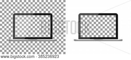 Laptop Mockup With Blank Screen. Pro Computer With Frame Isolated On Transparent Background. Png Pc.