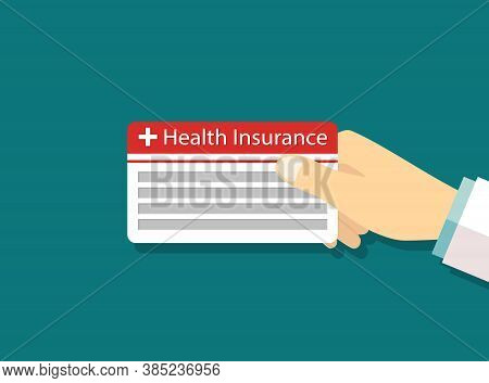 Card Of Health Insurance. Medical Icon. Payment Card In Doctor Or Patient Hand. Credit, Debt And Mon