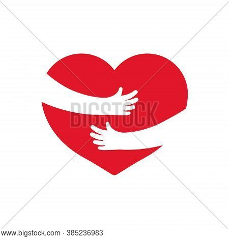 Embrace Of Heart. Icon Of Hug With Heart With Help Hands. Logo Of Warm, Love And Care. Arm, Heart Hu