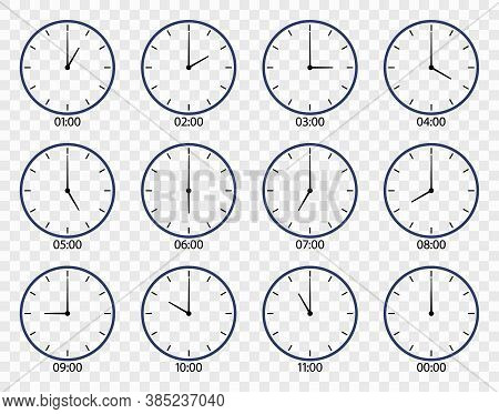 Clock Icon. Face Of Watch On Wall. Set Of Different Clocks For Time. Line Icons Of Hour And Minute W