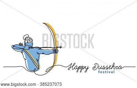 Simple Dussehra Background With Bow, Arrow And Lord Rama. One Continuous Line Drawing With Lettering