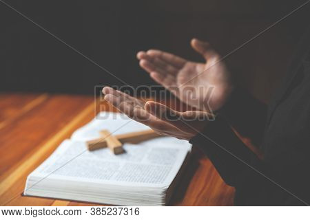 Hand Of Woman While Praying For Christian Religion, Casual Woman Praying With Her Hands Together Ove
