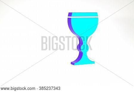 Turquoise Wine Glass Icon Isolated On White Background. Wineglass Icon. Goblet Symbol. Glassware Sig