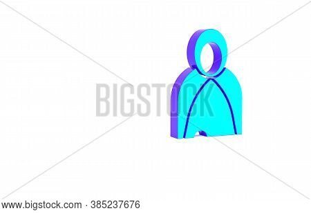 Turquoise Mantle, Cloak, Cape Icon Isolated On White Background. Magic Cloak Of Mage, Wizard And Wit