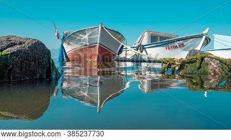 September 2020. Izmir Turkey. Izmir Coast And Fishing Boats. Editorial Photography.