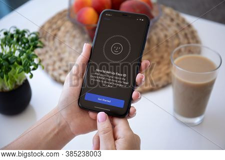 Alanya, Turkey - July 3, 2020: Woman Hand Holding Iphone 11 With Scanning Face Id On The Screen. Iph