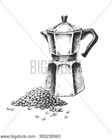 Geyser Coffee Maker. Hand-drawn Black And White Illustration. Jpeg Only