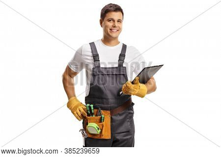 Repairman with a tool belt holding a clipboard isolated on white background
