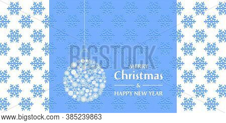 Christmas And New Year Greeting Card. Lace Christmas Ball On The Embossed Background With Snowflakes