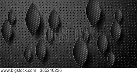 Geometric Layered Background. Paper Shapes On The Black Embossed Background. Vector Eps10