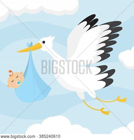 Cartoon Color Baby Announcment Concept Flat Design Style Include Of Bird Stork And Kid. Vector Illus