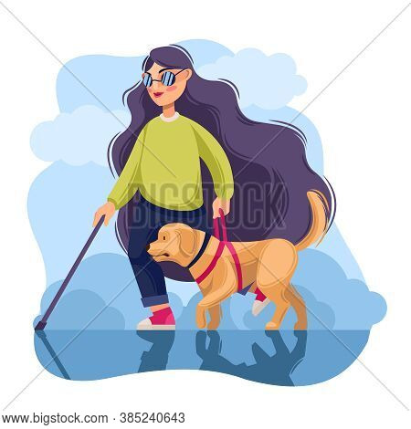 Cartoon Color Character Person Blind Girl And Guide Dog Concept Flat Design Style. Vector Illustrati