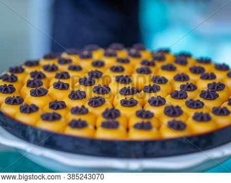 Close-up Of Thai Sweet Dessert Or Kha-nom Sanejan. Ancient Thai Dessert.