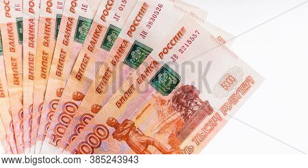 Image Of 5000 Ruble Bills On A White Background. Russian Money. Russian Currency. Financial Crisis,