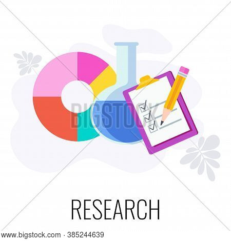 Marketing Research Icon. Pie Chart, Chemical Flask And Research List. Analysis Of Customer Behavior.
