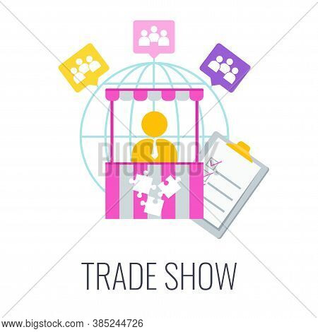 Trade Show Icon. Presentation And Promotion Goods And Services Of Company On The Market. Exhibition