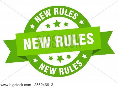 New Rules Round Ribbon Isolated Label. New Rules Sign