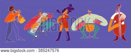 Cartoon Jazz Musicians And Vocalist In Modern Style Isolated On Violet Background