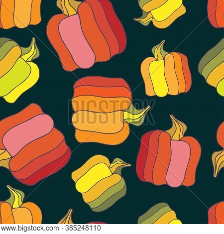 Vector Stylised Seamless Colorful Pattern Of Autumn Decorative Abstract Pumpkins