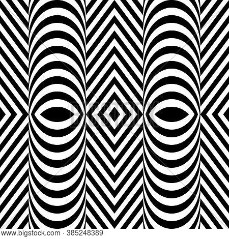Jagged Stripes. Zigzag Lines. Seamless Surface Pattern Design With Wavy Linear Ornament. Repeated Ch