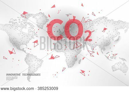 Carbon Dioxide On Map Co2 Ecology Problem Eco Concept. Renewable Organic 3d Render. Science Biofuel