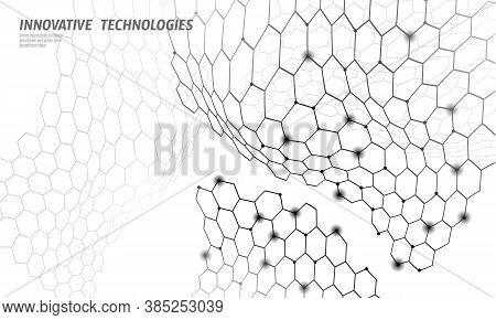 3d Nanotechnololy Graphene Texture Cyberspace. Nano Fiber Chemical Modern Material Design. Atom Mole