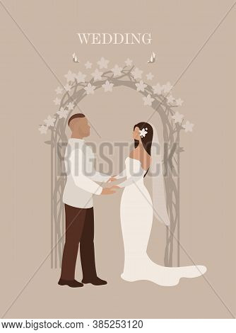 Wedding Ceremony Bride And Groom Stand Under Arch In Full Length Flowers, Oath Of Allegiance On Vert