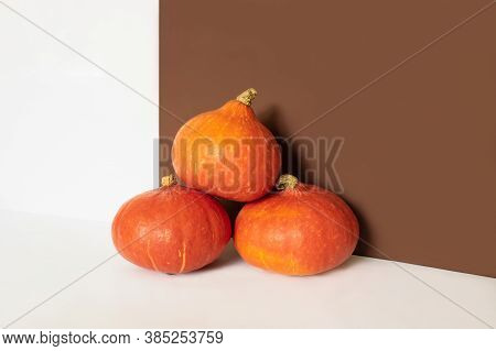 Three Orange Pumpkins In Front Of Brown And White Background With Copy Space. Autumn Harvest. Hallow