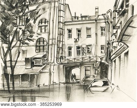 Street Views Of The City With Historical Buildings. Urban Landscape. Monochrome Illustration With A