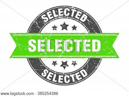 Selected Round Stamp With Green Ribbon. Selected