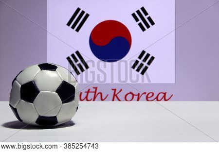 Small Football On The White Floor And South Korean Nation Flag With The Text Of South Korea Backgrou