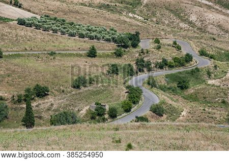 A Rural Landscape In The Summer In Basilicata, Italy