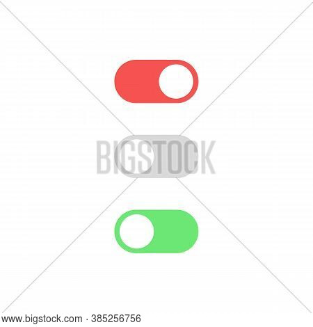 Toggle Switch Button. For Mobile App. Vector On Isolated White Background. Eps 10