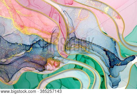 Alcohol Ink Green, Blue And Pink Abstract Background With Golden Layers. Ocean Style Watercolor Text