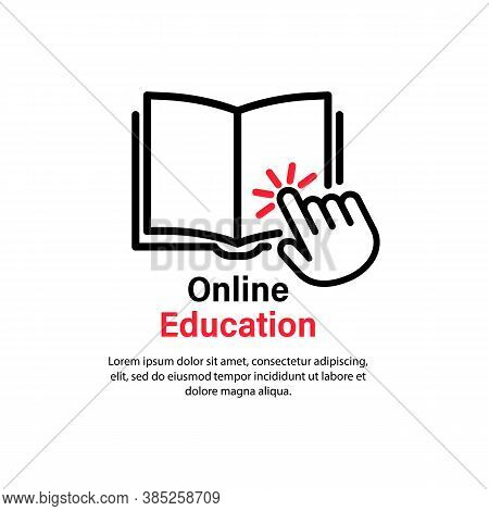 Online Education Icon. Distance Studying. Video Guide Tutorial, Course, Seminar, Conference, Stream,
