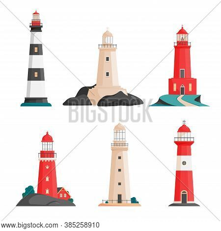 Set Of Isolated Vector Lighthouses On Islands In Flat Style. Coastline Landscape With Beacon. Faros