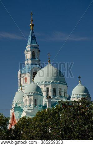 Spaso-preobrazhensky Valaam Cathedral Against The Blue Sky. Vertical Photo, Travel And Pilgrimage Co