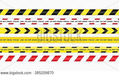 Police Yellow Stripes Icon Set. Police Ribbon Variation. Danger Tape. Vector On Isolated White Backg