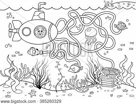 Help The Submarine Find The Right Way To The Treasure. Maze Or Labyrinth Game For Preschool Children