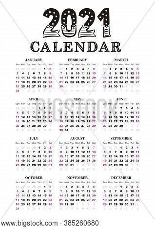 Calendar Template In Portrait Orientation. 2021 Yearly Calendar. 12 Months Yearly Calendar Set In 20