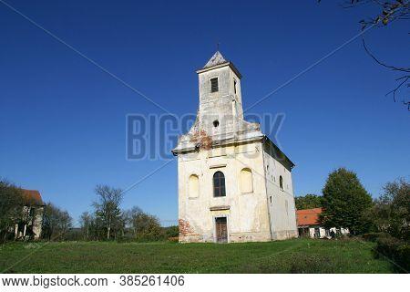 STARI FARKASIC, CROATIA - OCTOBER 10, 2013: Church of the Visitation of the Virgin Mary in Stari Farkasic, Croatia