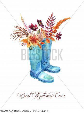 Watercolor Orange Fall Floral Bouquet In Blue Rubber Boots. Thanksgiving Decor, Autumn Chrysanthemum