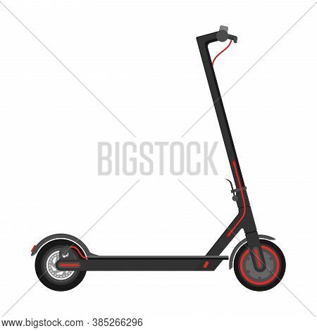 Electric Scooter (kick Scooter) In Side View - Isolated Vector Illustration Of Eco-friendly Sustaina