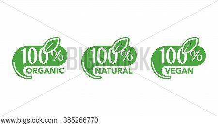 100 Natural, 100 Organic, 100 Vegan Icons - Badge For Hundred Percent Healthy Food, Vegetarian Nutri