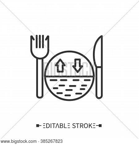Serving Size Line Icon. Portion Control. Healthy, Balanced Nutrition.diet.calorie Count. Nutrition F