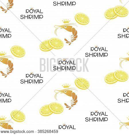 Shrimps, Lemon Slice. Royal Shrimp. Vector Background. Symbol Shrimp In Crown. Seamless Pattern