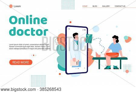 Online Doctor Medical Examination Service Landing Page For Internet Website. Doctor Examining Patien