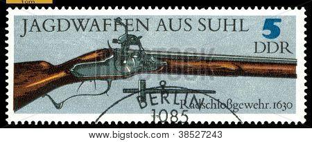 Vintage  Postage Stamp. Wheel-lock Gun. 1630.
