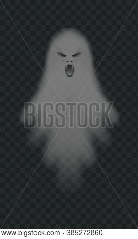 Realistic Spooky Ghost. Isolated Vector. Halloween Ghost Scary, Horror Shadow Poltergeist, Illustrat
