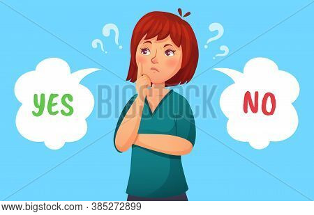 Woman Making Decision. Illustration Female Thoughtful, Girl Pondering, Making Decision Problem, Yes